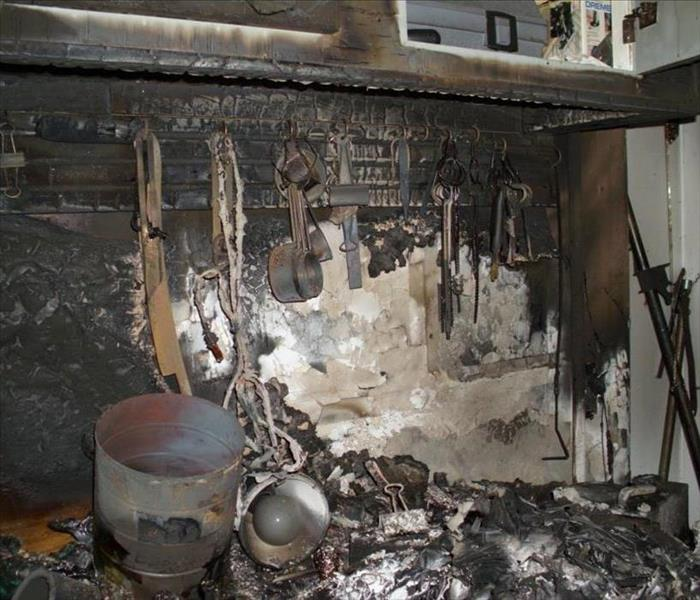 fire damage in a garage with soot