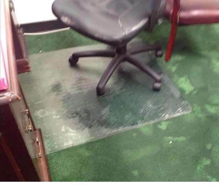 office chair on wet green carpet